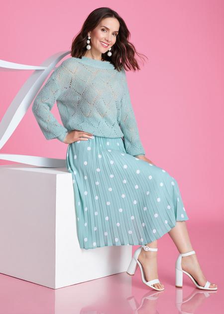 Плиссированная юбка-миди в горох - фото 1