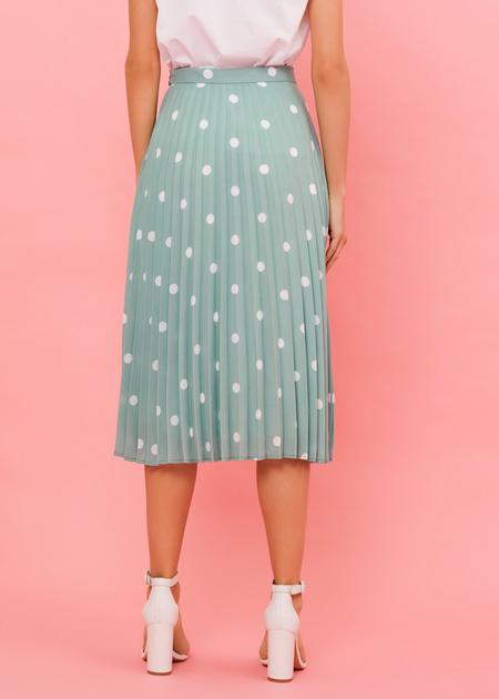 Плиссированная юбка-миди в горох - фото 6