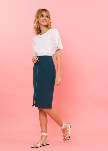 Фактурная юбка-миди с молнией - фото 1