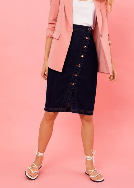 Джинсовая юбка-миди с завышенной талией - фото 2