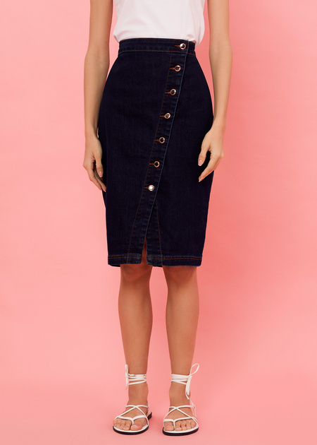 Джинсовая юбка-миди с завышенной талией - фото 3