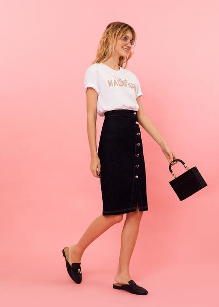 Джинсовая юбка-миди с завышенной талией - фото 1