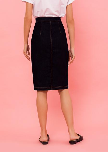Джинсовая юбка-миди с завышенной талией - фото 4