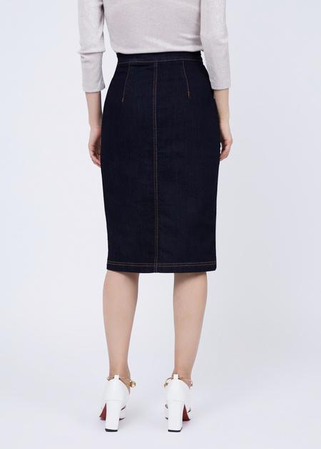 Джинсовая юбка-миди с завышенной талией - фото 5