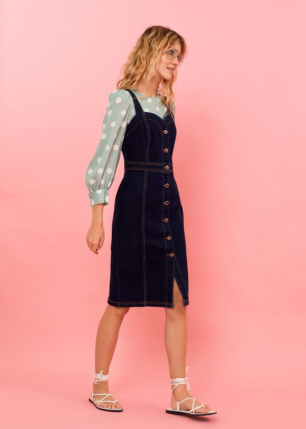 Джинсовое платье-сарафан с пуговицами - фото 4