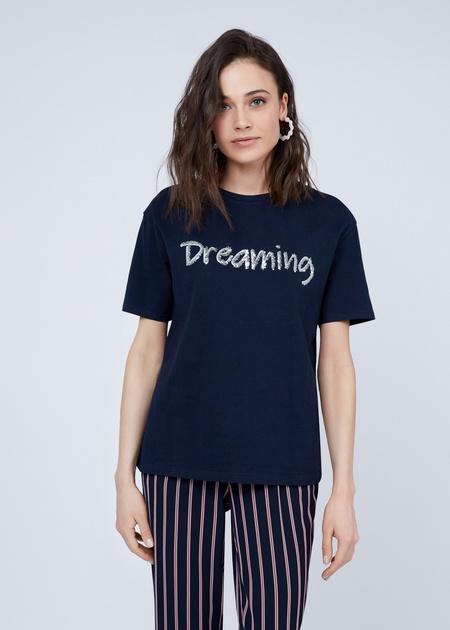 Хлопковая футболка с надписью из пайеток - фото 1