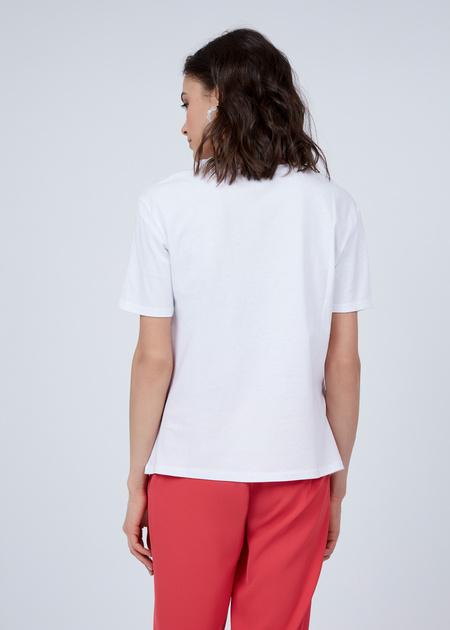Хлопковая футболка с надписью из пайеток - фото 3
