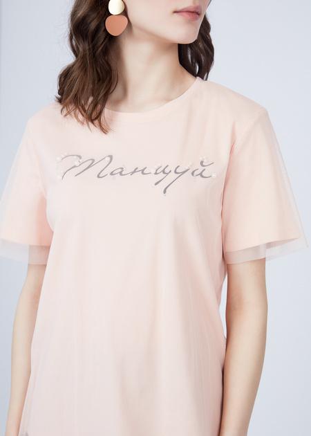 Хлопковая футболка с верхом из органзы - фото 2
