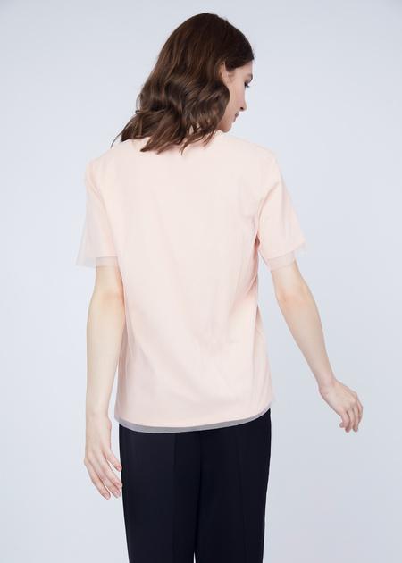 Хлопковая футболка с верхом из органзы - фото 6