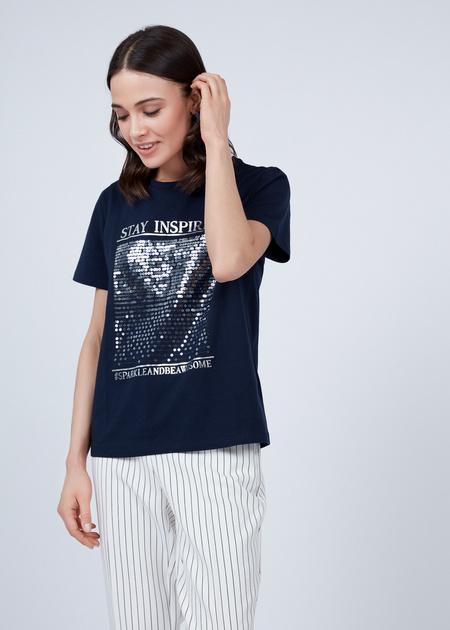 Хлопковая футболка с пайетками - фото 1