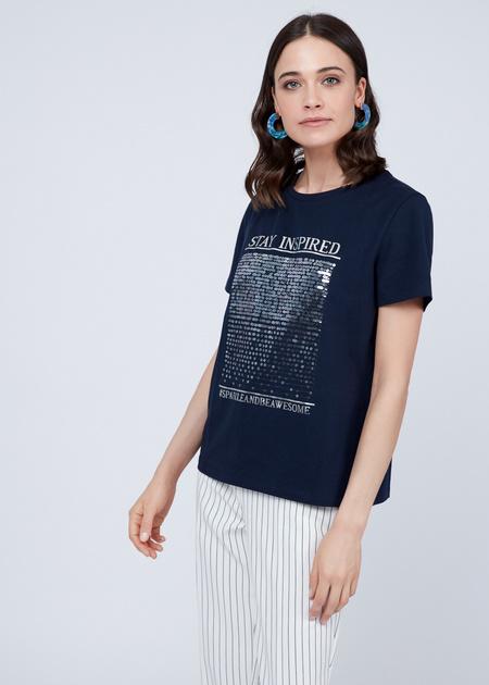 Хлопковая футболка с пайетками - фото 2