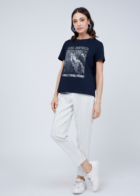 Хлопковая футболка с пайетками - фото 4