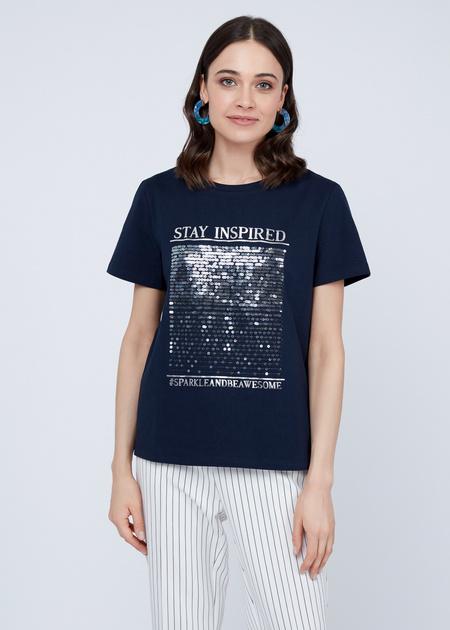 Хлопковая футболка с пайетками - фото 6