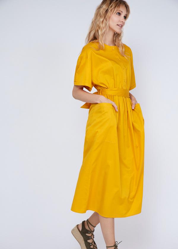 Платье-миди с накладными карманами - фото 2