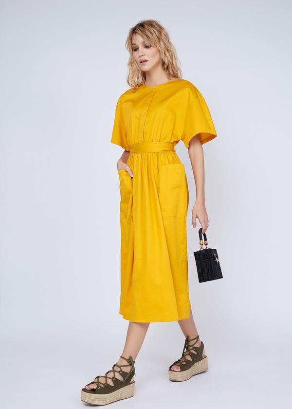 Платье-миди с накладными карманами - фото 5