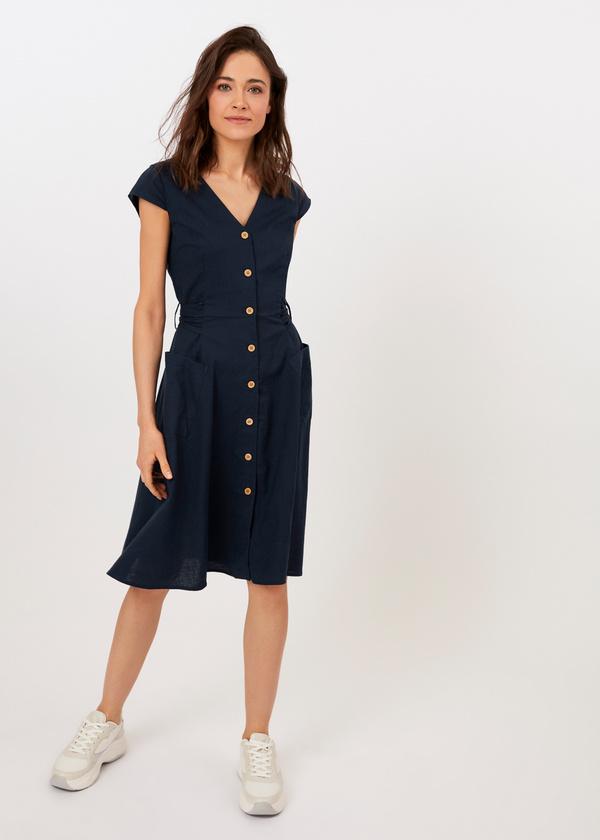 Приталенное платье с накладными карманами - фото 1
