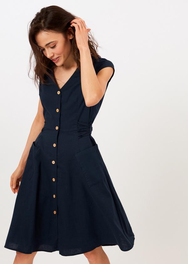 Приталенное платье с накладными карманами - фото 2