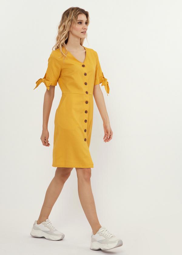 Приталенное платье с завязками на рукавах - фото 3