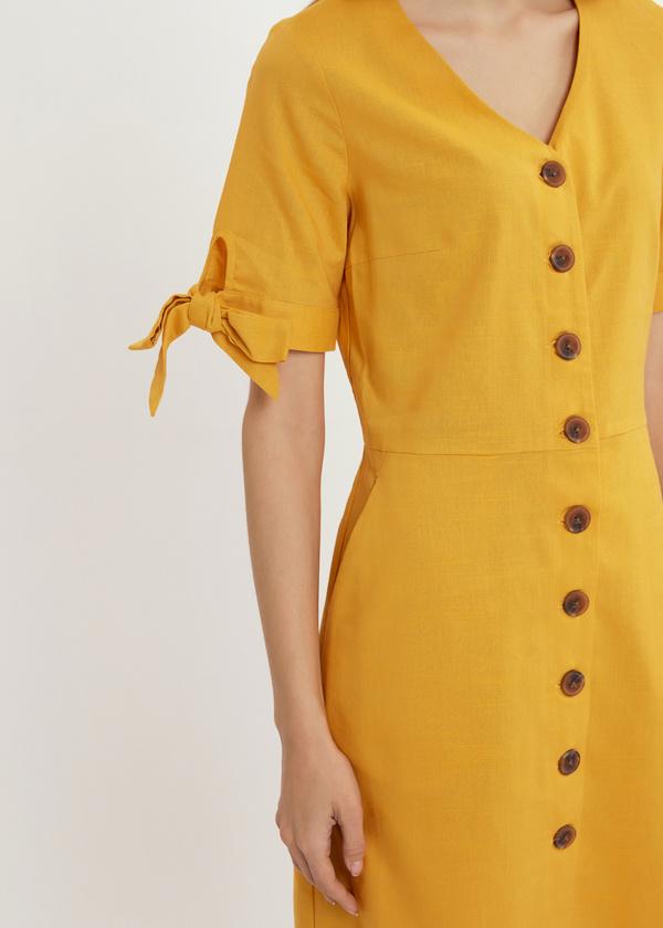 Приталенное платье с завязками на рукавах - фото 4