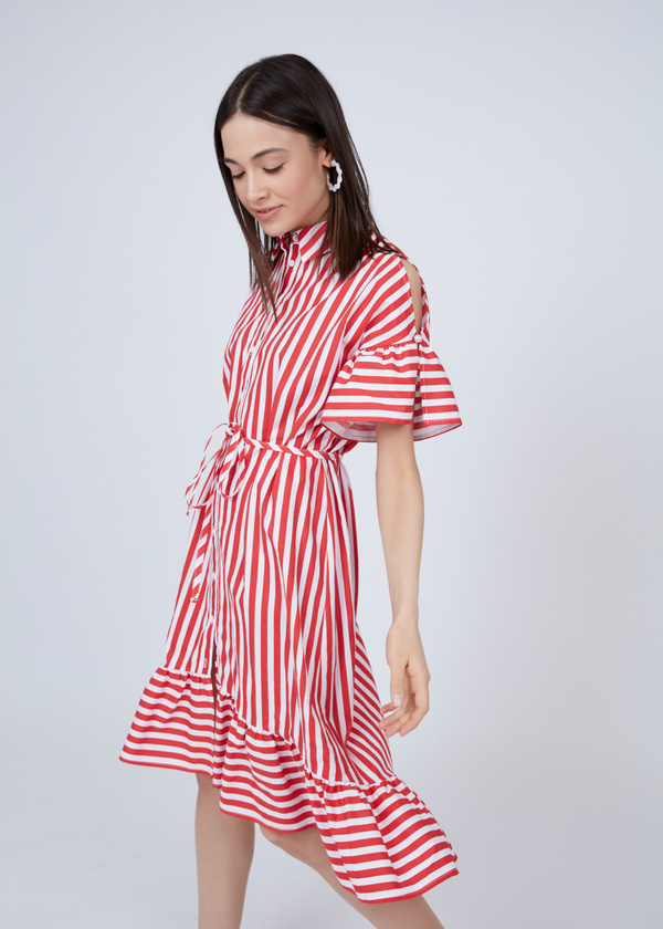 Платье-рубашка с асимметричным подолом - фото 2