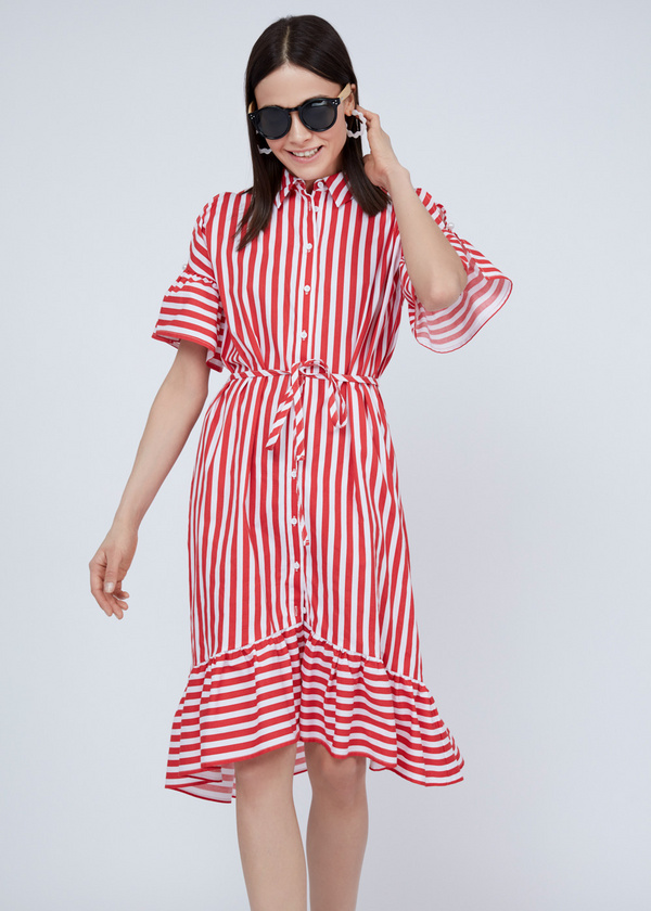Платье-рубашка с асимметричным подолом - фото 4