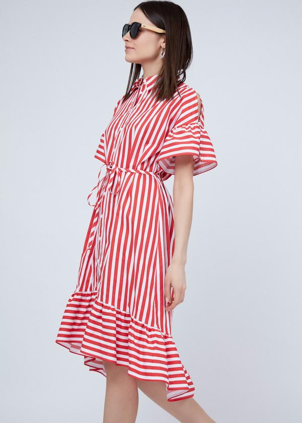 Платье-рубашка с асимметричным подолом - фото 5