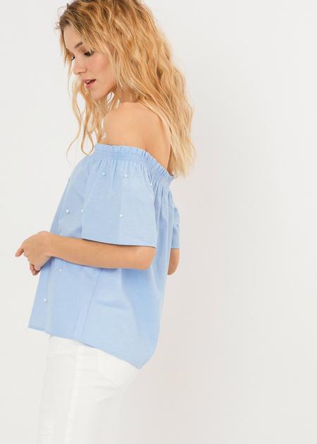 Блузка с открытыми плечами и бусинами - фото 3