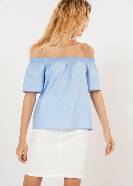 Блузка с открытыми плечами и бусинами - фото 4