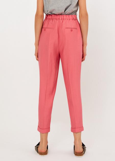 Укороченные брюки с поясом на резинке - фото 5