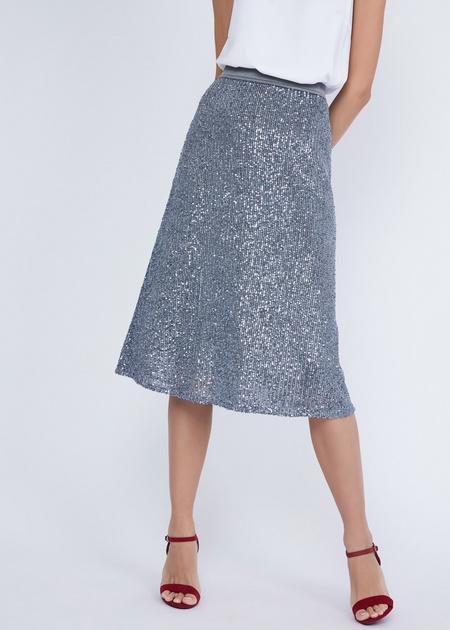 Расклешенная юбка с пайетками - фото 2