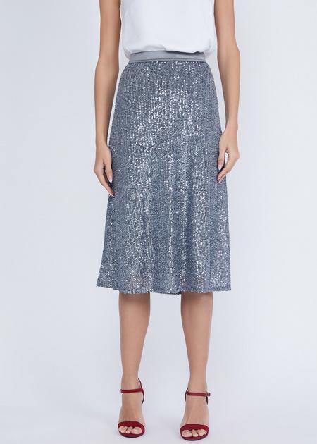 Расклешенная юбка с пайетками - фото 3