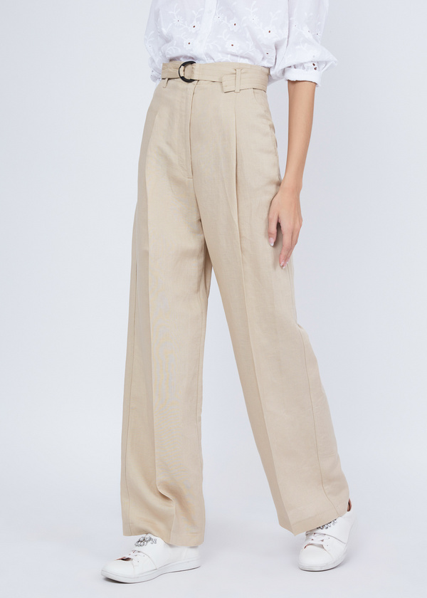 Прямые брюки с защипами - фото 2