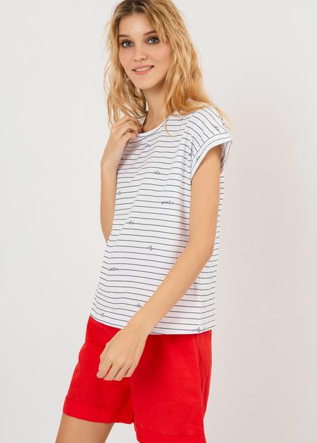 Хлопковая футболка в полоску - фото 2