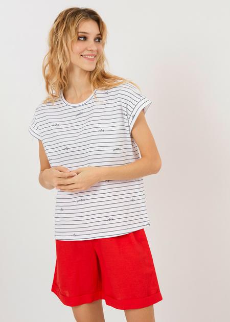 Хлопковая футболка в полоску - фото 5