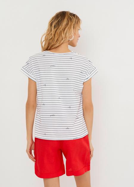 Хлопковая футболка в полоску - фото 6