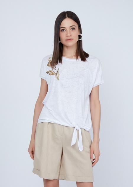 Трикотажная футболка с вышивкой из пайеток - фото 2