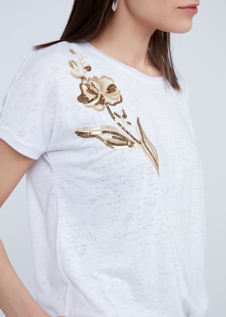 Трикотажная футболка с вышивкой из пайеток - фото 3