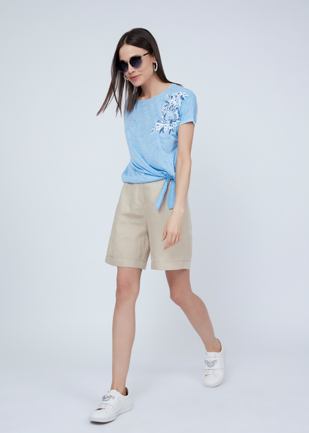 Трикотажная футболка с вышивкой из пайеток - фото 1