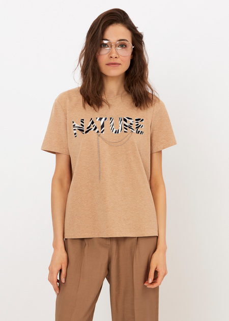 Хлопковая футболка с анималистичной надписью - фото 3