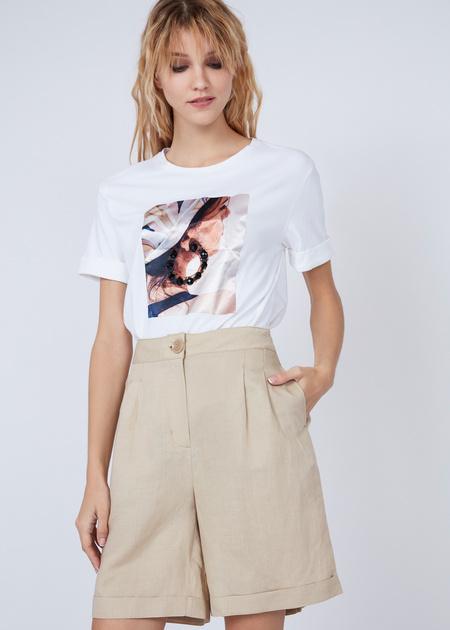 Хлопковая футболка с объемной аппликацией - фото 1