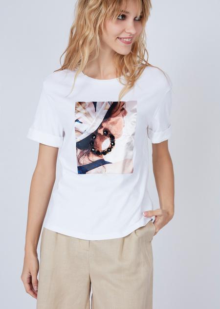 Хлопковая футболка с объемной аппликацией - фото 3