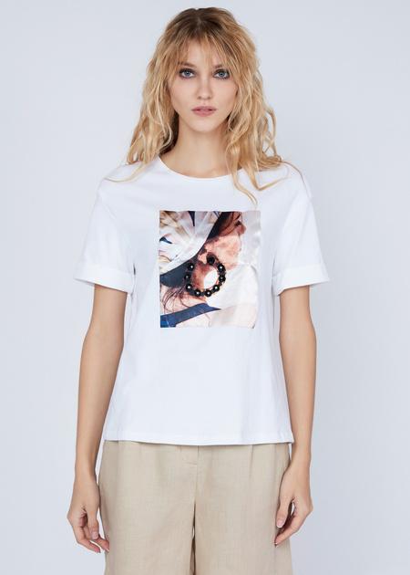 Хлопковая футболка с объемной аппликацией - фото 4