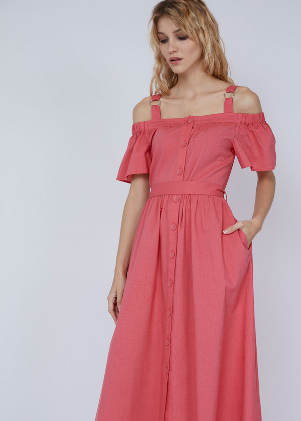Платье-миди с открытыми плечами - фото 1