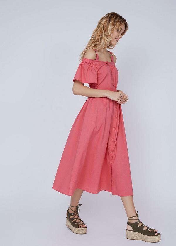 Платье-миди с открытыми плечами - фото 3