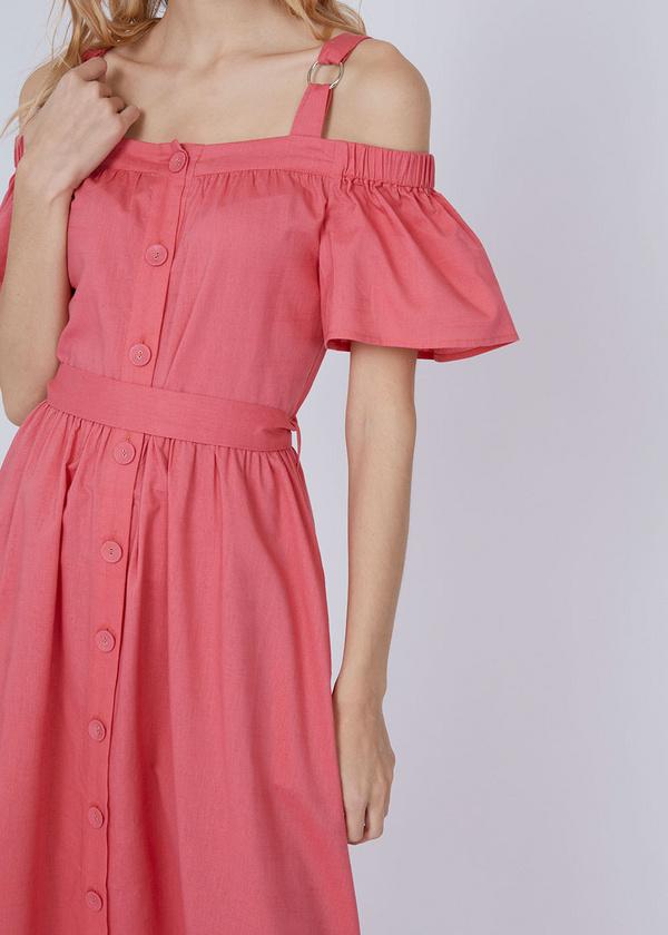 Платье-миди с открытыми плечами - фото 4
