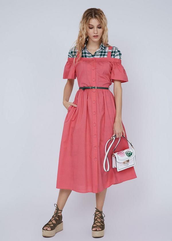 Платье-миди с открытыми плечами - фото 5