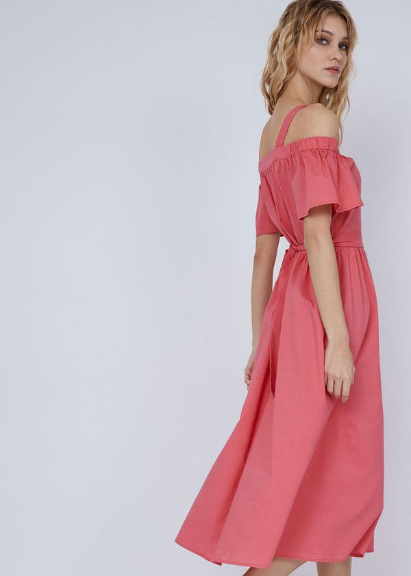 Платье-миди с открытыми плечами - фото 6