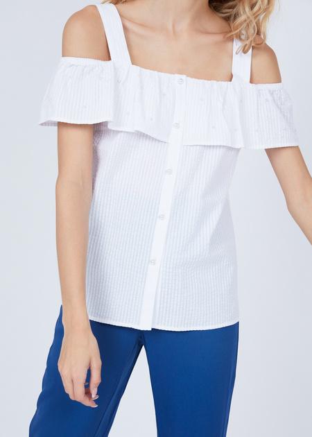 Хлопковая блуза на бретелях - фото 2