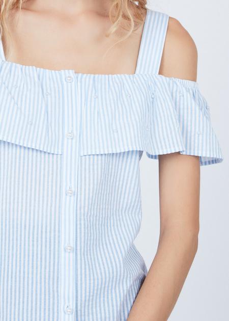 Хлопковая блуза на бретелях - фото 4