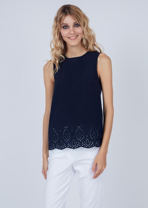 Хлопковая блуза с кружевом - фото 1